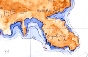 Cartographie – Brou de noix & Aquarelle